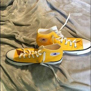 yellow high top converse—new without tags
